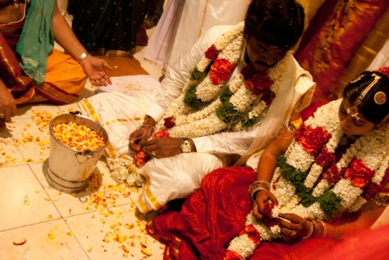 One of Rathy's early wedding shoots: a Hindu marriage ritual in progress